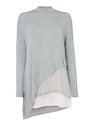 Label Lab Asymmetric Knit And Chiffon Mix Top Grey
