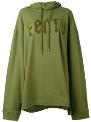 Puma Front Lace Hoodie Women Cotton Polyester Spandex Elastane M Green
