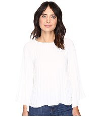 Nicole Miller Melanie Pleated Blouse Ivory Women's Blouse White