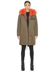 Army Fur Cotton Canvas Parka With Fox Lining