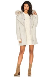 Soia And Kyo Rafaella Coyote Fur Trim Coat Gray