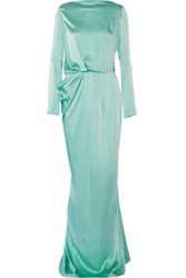 Vionnet Draped Stretch Silk Satin Gown Mint
