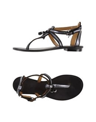 Coral Blue Thong Sandals Silver