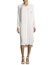Neiman Marcus Embroidered Charmeuse Collared Tunic White