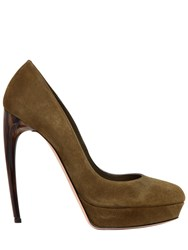 Alexander Mcqueen 125Mm Suede Pumps W Hand Painted Heel