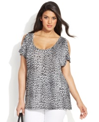 Michael Michael Kors Plus Size Cold Shoulder Animal Print Top
