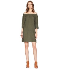 Allen Allen Ruffle Edge Linen Dress Cilantro Green