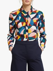 Boden Geometric Print Silk Shirt Multi
