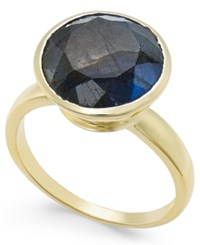 Paul And Pitu Naturally 14K Gold Plated Labradorite Solitaire Ring Multi