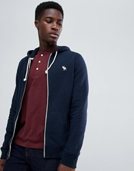 Abercrombie And Fitch Icon Logo Full Zip Hoodie In Navy