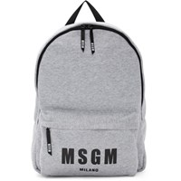 Msgm Grey Jersey Logo Backpack