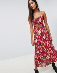 Hollister Floral Maxi Dress With Cut Out Detail Red Print