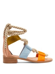Pierre Hardy Azur Suede Flat Sandals Tan Multi