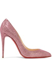 Christian Louboutin Pigalle Follies 100 Glittered Canvas Pumps Baby Pink