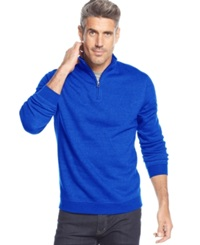 John Ashford Long Sleeve Solid Quarter Zip Pullover City Blue