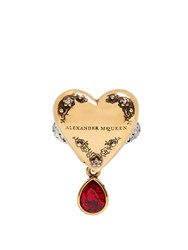 Alexander Mcqueen Heart Locket Ring Gold