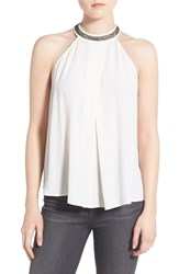 Willow And Clay Women's Embellished Collar Halter Top