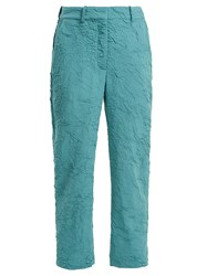 Sies Marjan Willa Crinkled Wool Blend Trousers Blue