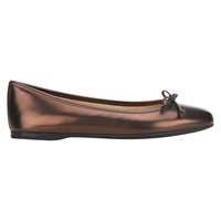 Hobbs Prior Metallic Leather Square Toe Ballerina Pumps Bronze