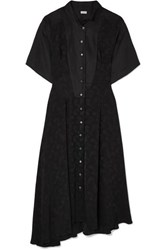 Loewe Asymmetric Paneled Satin Jacquard And Linen Midi Dress Black
