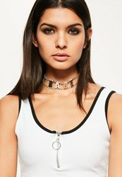 Missguided Silver Diamante Babe Slogan Choker Necklace