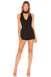 By The Way Ollie Choker V Neck Romper Black