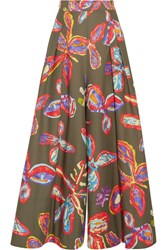 Peter Pilotto Printed Cotton Blend Wide Leg Pants Army Green
