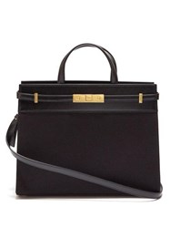 Saint Laurent Manhattan Small Canvas And Leather Tote Bag Black