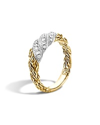 John Hardy Classic Chain 18K Gold Diamond Pave Small Flat Twisted Chain Ring