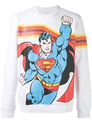 Iceberg Superman Print Sweatshirt Men Cotton Polyamide Polyester S White