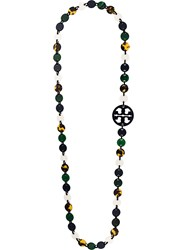 Tory Burch Flat Beaded Necklace Resin Multicolour