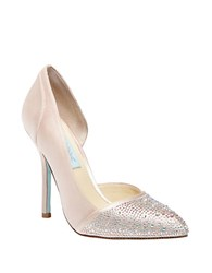Betsey Johnson Sb Band Glitz Satin Pumps Champagne