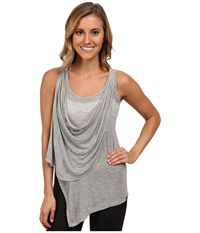 Zobha Annika Draped Sheer Tank Top Heather Gray Women's Workout