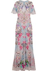 Temperley London Long Sail Embellished Embroidered Tulle And Crepe De Chine Gown Gray