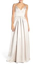 Hayley Paige Occasions Women's Sweetheart Neck Satin A Line Gown Candelight