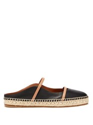 Malone Souliers Sienna Waved Edge Leather Espadrilles Black Nude