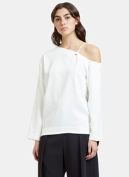 Nomia Oversized Dropped Sleeve Laced Top White