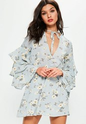 Missguided Tall Exclusive Blue Frill Sleeve Floral Printed Dress