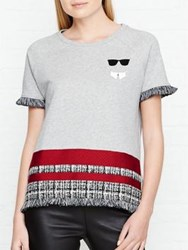 Karl Lagerfeld Stripe Boucle Short Sleeved Sweatshirt Grey