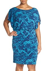 Plus Size Women's Sangria Print Jersey Blouson Dress