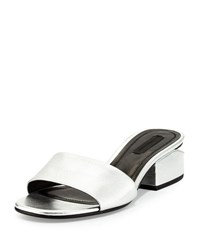Alexander Wang Hollie Metallic Low Heel Mule Sandal Silver