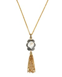 Jose And Maria Barrera Long Floral Tassel Pendant Necklace Gold