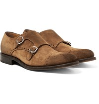 O'keeffe Bristol Washed Suede Monk Strap Brogues Brown