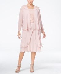 Si Fashions Sl Plus Size Lace Tiered Dress And Jacket Faded Rose