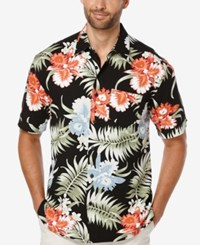 Cubavera Men's Big And Tall Tropical Print Short Sleeve Shirt Jet Black