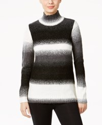 G.H. Bass And Co. Striped Mock Neck Sweater Black Combo