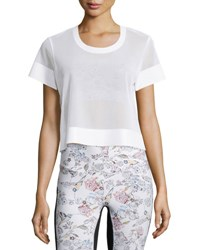 Lucas Hugh Perforated Mesh Cropped Sport Shirt White