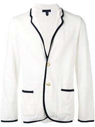 Lardini Contrast Piped Trim Blazer Men Cotton S White