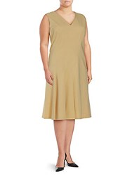 Lafayette 148 New York Solid V Neck Dress Citronella