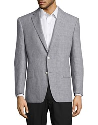 Lauren Ralph Lauren Textured Two Button Linen Blazer Cream Blue